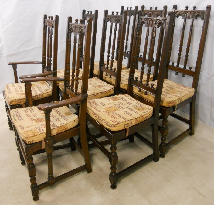 Set Of Eight Ercol High Back Dark Elm Dining Chairs From